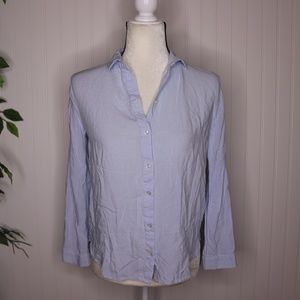 H&M Divided Button Up Shirt Size 2 Vertical Stripe